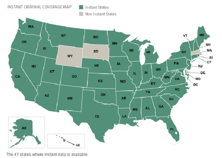 National Criminal Background Check Coverage Map